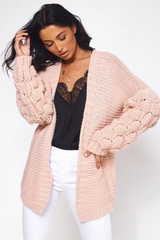 The Fashion Bible ALESSA CHUNKY KNIT NUDE POM SLEEVE CARDIGAN | pink textured open front cardigans | feminine knits - flipped