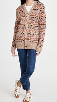 Alex Mill Fair Isle Cardigan Camel Multi ~ light brown patterned cardigans
