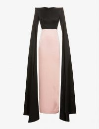 ALEX PERRY Julian cape-sleeve colour-block satin gown black blush / colourblock statement gowns