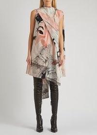 ALEXANDER MCQUEEN Printed silk crepe de chine mini dress ~ floral dresses ~ asymmetric designs