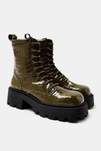 TOPSHOP ALI Khaki Square Toe Leather Chunky Lace Up Crocodile Boots ~ green croc effect footwear