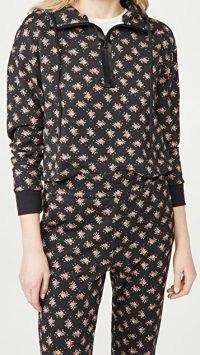 alice + olivia Quinlan Crop Half Zip Hoodie / floral hoodies