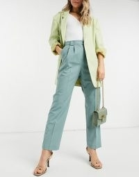 & Other Stories high waist straight leg trousers in green