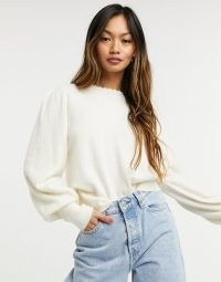 & Other Stories knitted jumper with puff sleeves in off white ~ cosy crew neck jumpers