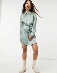 & Other Stories satin tie waist mini shirt dress in dusty green