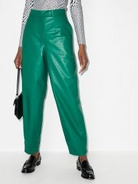ANOUKI faux-leather tapered trousers emerald green