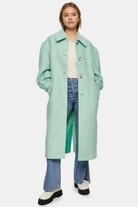 TOPSHOP Aqua Blue Puff Sleeve Coat ~ single breasted coats