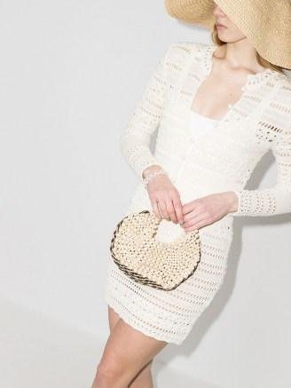 Aranaz woven-detail beaded tote bag | cute bead covered bags | small handbags - flipped