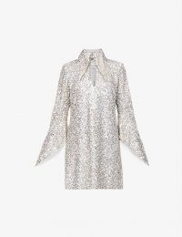 16 ARLINGTON Sangana loose-fit sequin-embellished mini dress ~ sparkling silver evening dresses ~ oversized pointed collars ~ long fluted sleeves ~ glamorous occasionwear