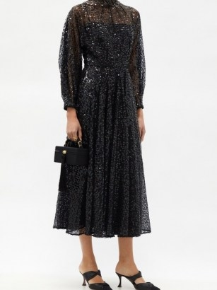 EMILIA WICKSTEAD Artemis high-neck sequined-tulle midi dress ~ sparkling LBD ~ sequinned evening dresses - flipped