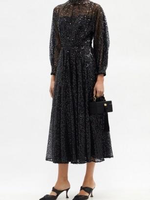 EMILIA WICKSTEAD Artemis high-neck sequined-tulle midi dress ~ sparkling LBD ~ sequinned evening dresses