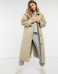 ASOS DESIGN boyfriend trench with quilted liner in stone