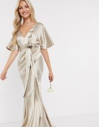 ASOS DESIGN Bridesmaid satin kimono sleeve maxi dress with panelled skirt and belt in Oyster