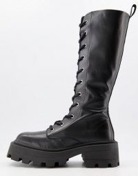 ASOS DESIGN Celina leather square toe lace up knee boots in black ~ chunky sole and heel