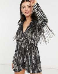 ASOS DESIGN linear sequin tux playsuit in black ~ fringed sequinned playsuits ~ glamorous part fashion