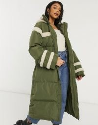 ASOS DESIGN longline puffer jacket with borg detail in khaki ~ green padded coats