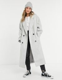 ASOS DESIGN oversized brushed chuck on coat in grey ~ longline slouchy coats ~ drop shoulder outerwear