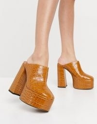 ASOS DESIGN Peco super high heeled mules in tan ~ extreme chunky mules