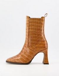 ASOS DESIGN Radius premium leather high heeled boots in tan croc ~ crocodile effect square toe boot