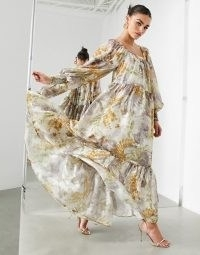 ASOS EDITION oversized maxi dress in floral satin burnout with square neck ~ long flowing occasion dresses