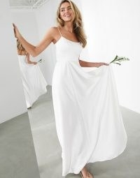 ASOS EDITION Rosie satin cami wedding dress with square neck ~ ivory skinny strap bridal dresses