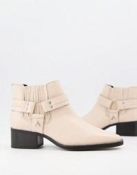 ASRA Mariana boots with harness detail in croc embossed bone leather ~ crocodile effect ankle boot