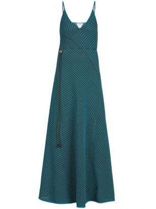 BOTTEGA VENETA Asymmetric-stripe knitted dress | spaghetti strap knit dresses - flipped