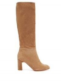 RUPERT SANDERSON Au Revoir knee-high suede boots | tan-brown block heel boot | classic winter tones