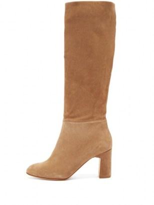 RUPERT SANDERSON Au Revoir knee-high suede boots   tan-brown block heel boot   classic winter tones - flipped
