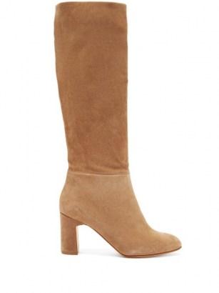 RUPERT SANDERSON Au Revoir knee-high suede boots   tan-brown block heel boot   classic winter tones