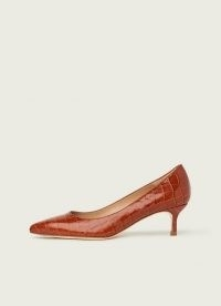L.K. BENNETT AUDREY TAN CROC-EFFECT LEATHER COURTS / brown crocodile-embossed kitten heel court shoes