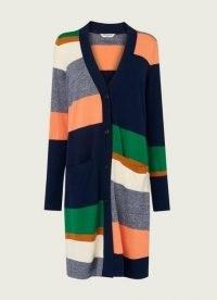 L.K. BENNETT AURORA STRIPE MERINO WOOL-BLEND LONG CARDIGAN ~ multicoloured longline cardigans