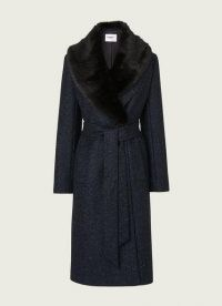 L.K. BENNETT AVA NAVY VIRGIN WOOL MIX COAT / blue faux fur collared coats / self tie waist / wrap style outerwear