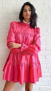 AVAVAV Ruffle Long Sleeve Lace Collar Dress | hot pink high neck dresses | puff sleeve fashion