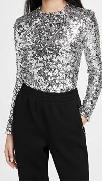 A.W.A.K.E MODE Roundneck Long Sleeve Pailette Top / silver sequinned tops