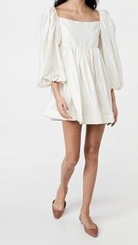 Azeeza Cameron Dress | white volume sleeve dresses | square neckline | balloon sleeves