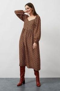 Kachel Ditsy Floral Midi Dress / blouson sleeve dresses