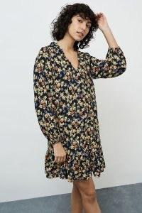 Dot and Cross Floral Mini Dress / ruffle hem dresses