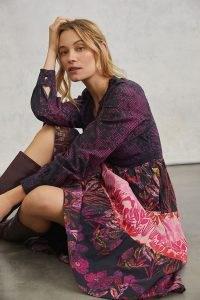 Roopa Pemmaraju Calla Tiered Print Maxi Dress Pink Combo / mixed floral prints / feminine dresses