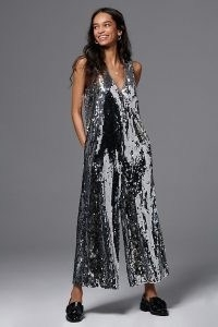Maeve Royale Sequinned Jumpsuit ~ metallic silver sequinned jumpsuits