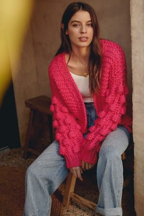 En Elly Pamela Textured Cardigan ~ bright pink open front cardigans - flipped