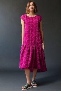 ANTHROPOLOGIE Ferne Textured Asymmetric Midi Dress ~ pink dip hem dresses