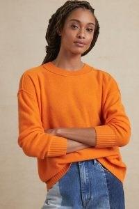 Pilcro Angie Seamed Cashmere Jumper Medium Orange / bright crew neck sweater