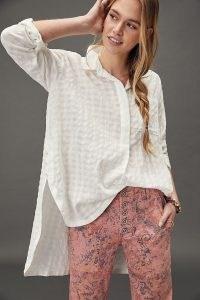 Maeve Henley Textured Tunic Blouse / dip hem blouses / checked oversized shirts