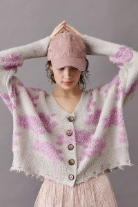 ANTHROPOLOGIE Saoirse Raw-Edge Cardigan Lilac / textured floral cardigans / distressed knitwear