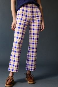 Maeve Susanna Printed Flare Trousers Purple Motif / checked crop hem flares