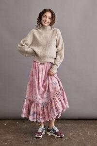 ANTHROPOLOGIE Lyla Tie-Dye Ruffled Midi Skirt Pink Combo