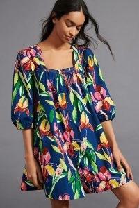 Maeve Square-Neck Mini Dress Blue Motif / bold floral prints