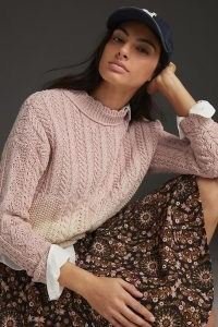 Anthropologie Marci Dip-Dyed Cable-Knit Jumper Lavender