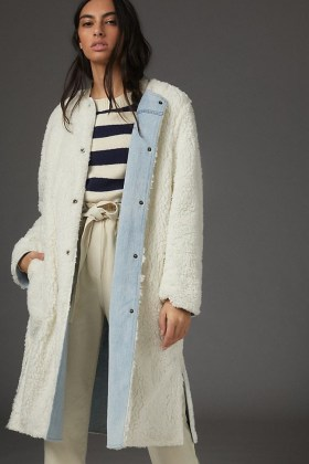 Pilcro Reversible Sherpa Denim Duster Coat / casual luxe coats / textured faux shearling fur - flipped